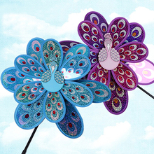 Double Layer Peacock Laser Sequins Windmill Colourful Wind Spinner Home Garden  Ornaments Yard Kids Toy Home