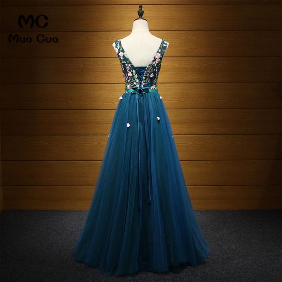 8721d5e10b2f 2018 Elegant Dark Blue Evening Dress Prom Dresses Long with Embroidery  Vestido Longo Lace Up Back Formal Evening Party Dress