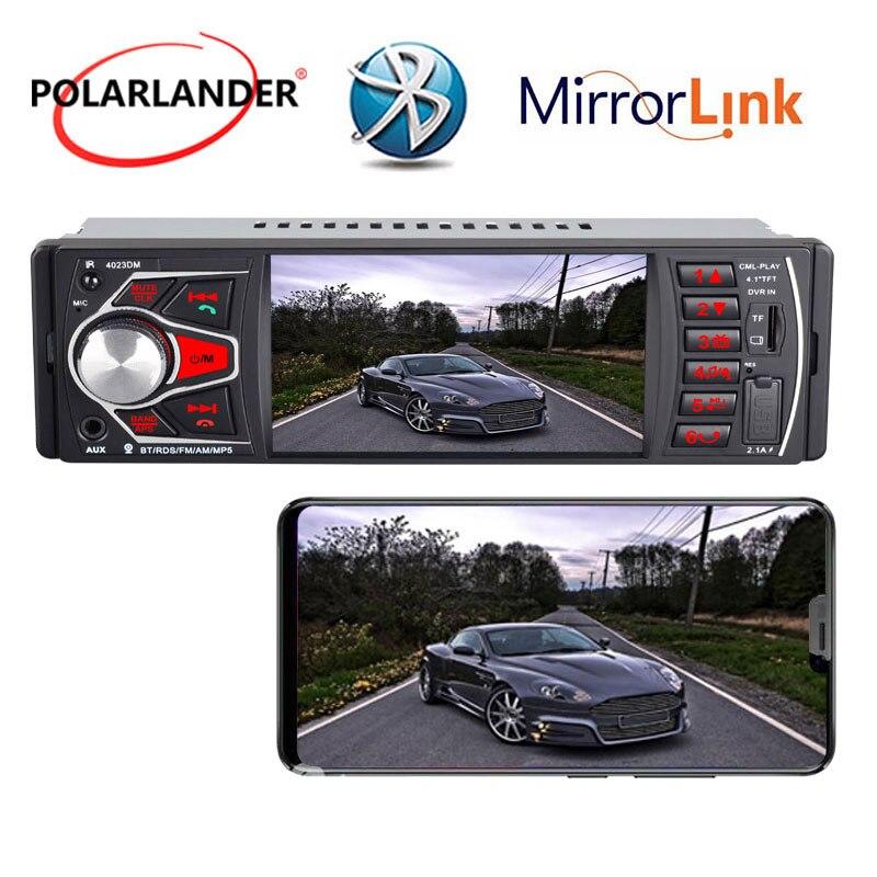 4.1 pouces coloré lumière HD Audio Autoradio lien miroir Radio lecteur de cassette Bluetooth 4.0 FM TF USB SD 1 DIN MP5 Autoradio