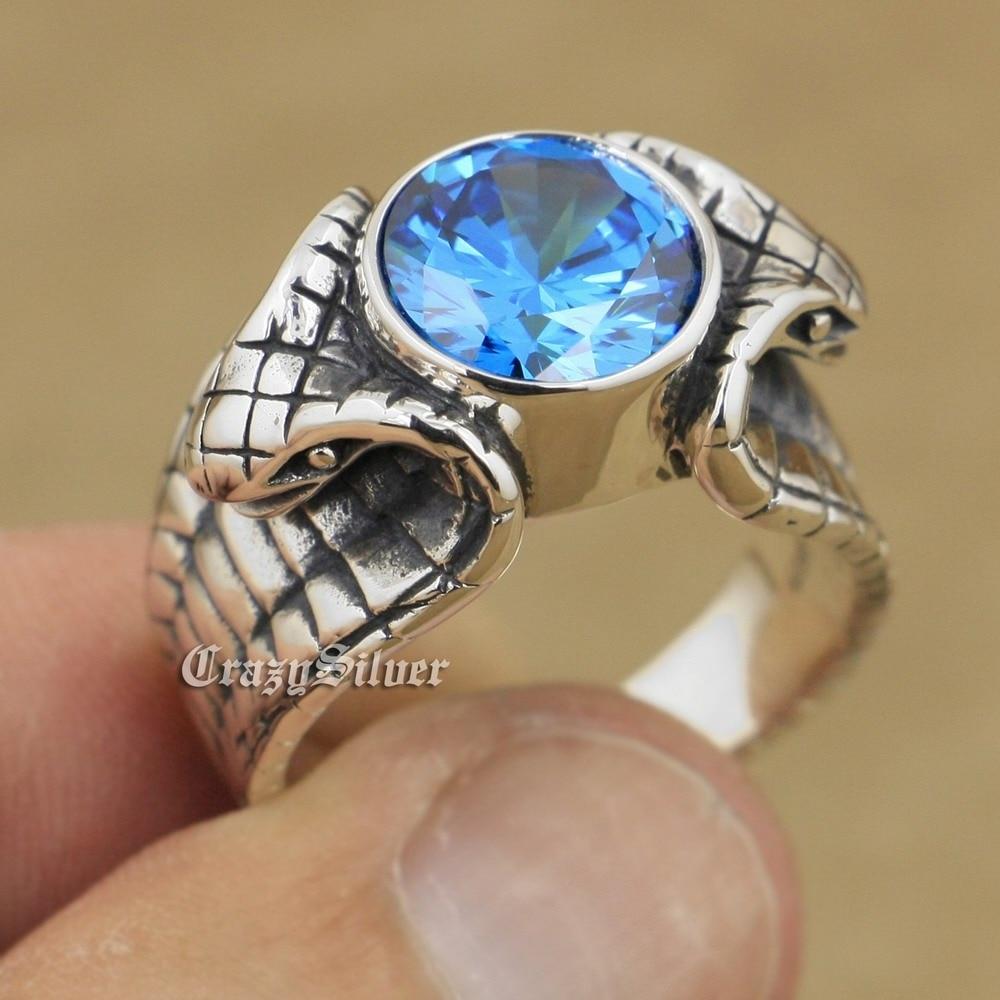 LINSION King Cobra Snake Ring 925 Sterling Silver Blue CZ Stone Biker Rock Punk Style 9K007 US Size 7 to 14 стоимость
