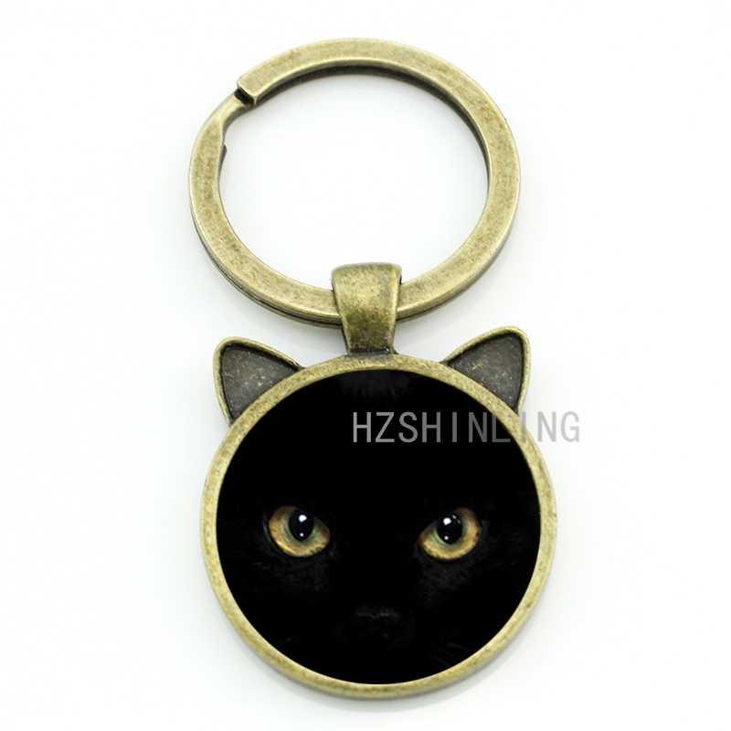 TAFREE clásico vintage gato negro llavero hombres mujeres Halloween regalos bolso colgante llavero anillo amor gato joyería CN316