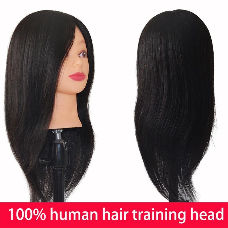 100% голова манекена для тренировок по натуральным человеческим волосам, профессиональная голова манекена для парикмахерской, женская косме...