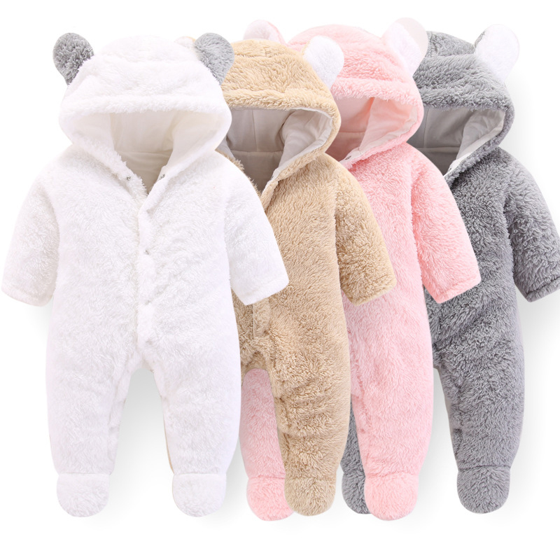 2019 New Born Baby Clothes Autumn Winter Baby   Rompers   Newborn Footies Bodysuit Hooded Infant Cotton Jumpsuit Baby Boy Girl 0-12M