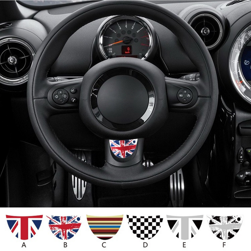 1PC Union Jack Car Steering Wheel Adhesive-vinyl Decal Sticker For MINI Coopers JCW R55 R56 R57 R60 R61 Car Styling Accessories