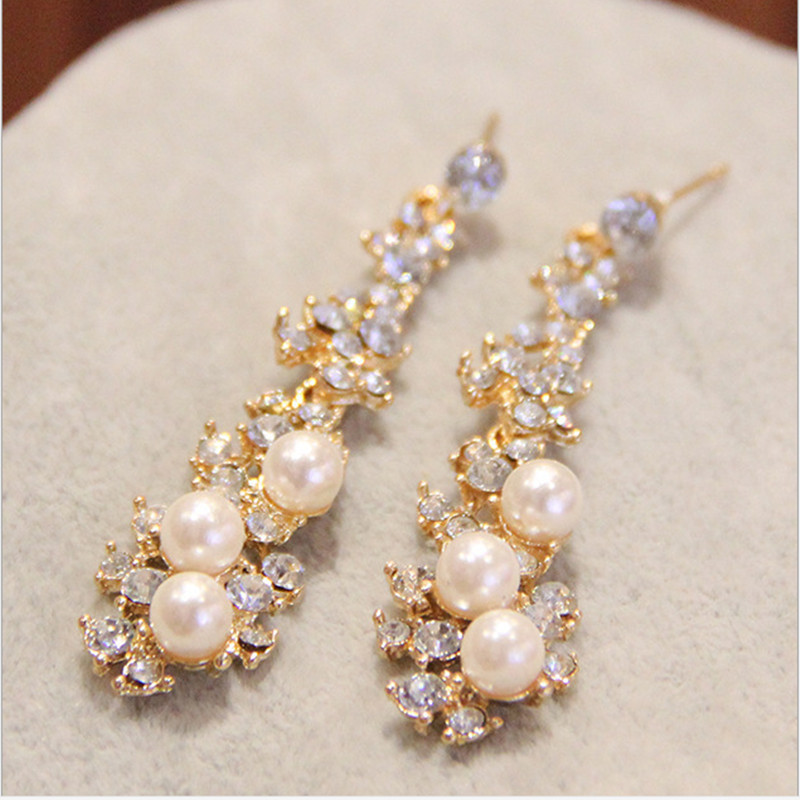 Summer Style Fine Earings Fashion Jewelery Brincos Full Crystal Pearls Gold Filled Long Drop Earrings For Women ER809