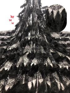 Image 2 - Di Qualità eccellente JIANXI.C 62001 Tulle Africano Tessuto Africano Del Merletto Francese Tessuto di Pizzo con la piuma