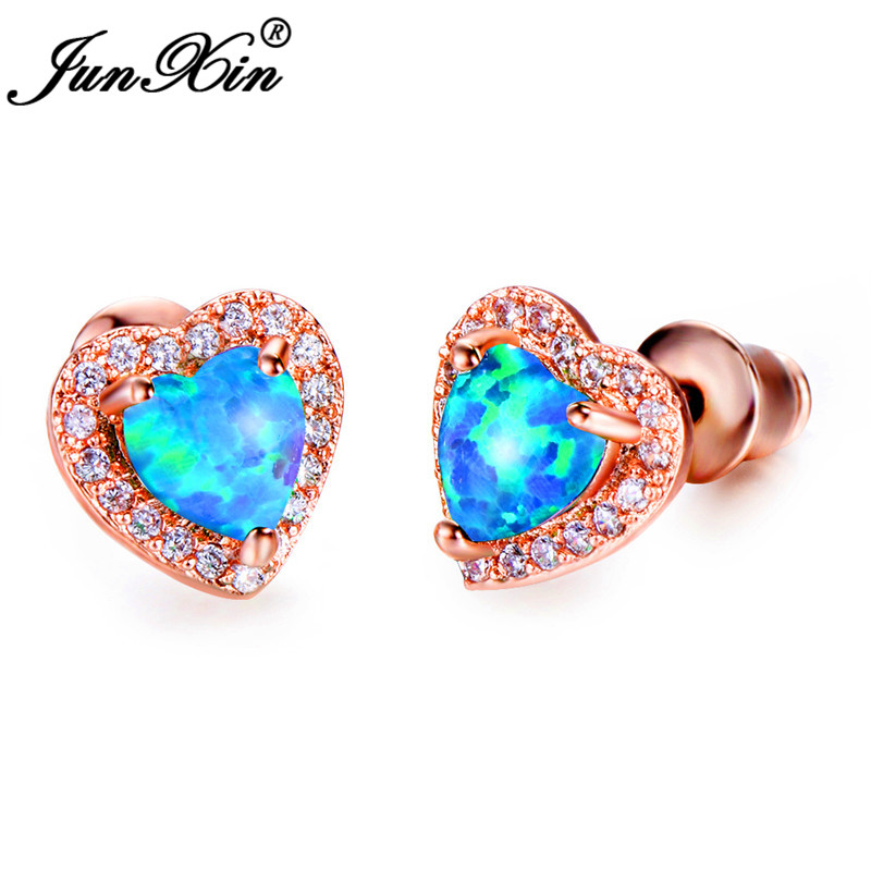 JUNXIN Cute Heart Stud Earrings For Women Rose Gold Filled Blue Fire Opal Earrings Female Rainbow Zircon Birthstone Earrings CZ