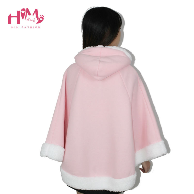 Christmas Hooded Cloak Winter cape Women Pink Unlined Upper Garment Sets Fleece Lovely Japanese Coat Blue  8