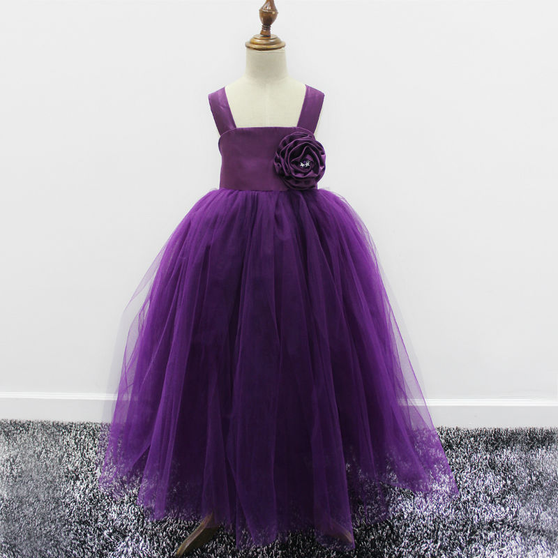 Tulle Birthday Party Dress A-line Flower Girls Dresses For Wedding Gowns Glitz Pageant Dresses Purple Mother Daughter Dresses free shipping flower girls dresses for wedding gowns a line girl birthday party dress baby dress tulle mother daughter dresses
