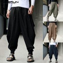 Мужские штаны-шаровары с широкими штанинами, хлопковые брюки для бега, Повседневная Уличная одежда, мешковатые брюки, мужские брюки с заниженным шаговым швом размера плюс 5XL
