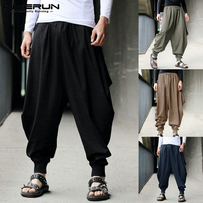 Mens Harem Pants Wide Leg Cross-pants Cotton Joggers Casual Streetwear Baggy Trousers Men Drop Crotch Pants Plus Size 5XL 2020