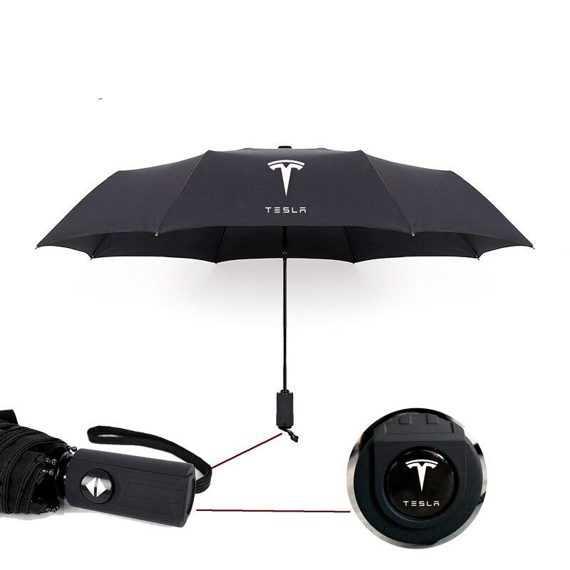 1pc parapluie pliant automatique pare-soleil de pluie parapluie qualité coupe-vent UV adapté pour Tesla modèle S modèle X modèle 3