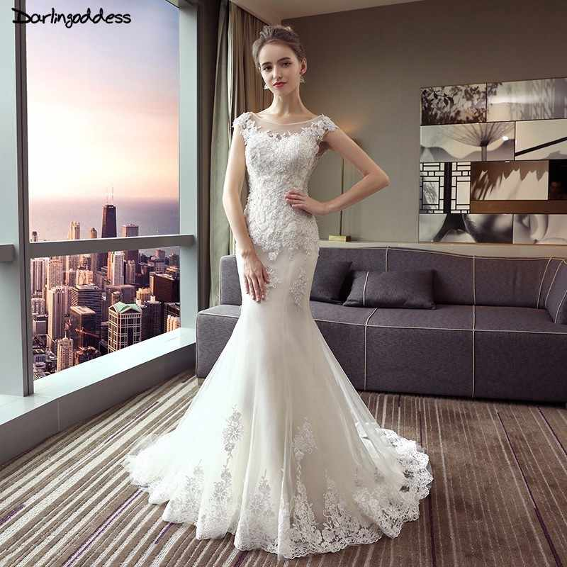 b68bb3c6fabcf Sexy 2018 Lace Mermaid Wedding Dress Plus Size Mermaid Wedding Dresses  Short Sleeve Backless Mermaid Wedding Gowns 2018