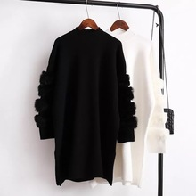 新ファッション本物のウサギの毛皮長袖タートルネックセーターの女性秋冬暖かい長袖ジャンパープルファムプルオーバー