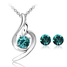 Promotion Price White Gold Color Cute Love Crystal Necklace Earrings Jewelry Sets for Women Cheap Wedding Jewelry Nice Gift