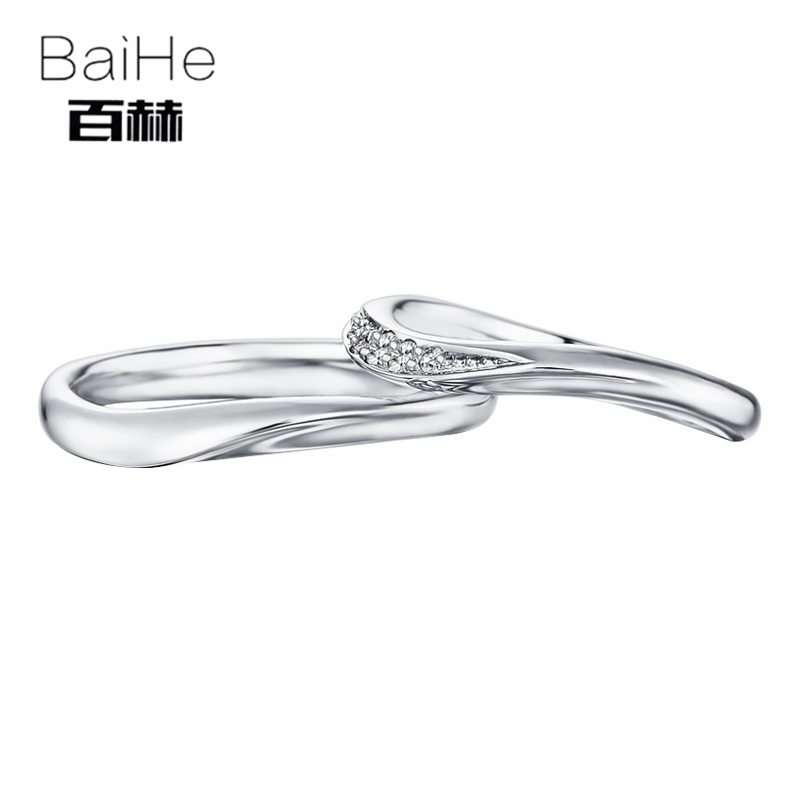BAIHE Solid 18K White Gold 0.1CT Certified H/SI Round 100% Genuine Natural Diamonds Engagement Women Classic Jewelry Couple Ring