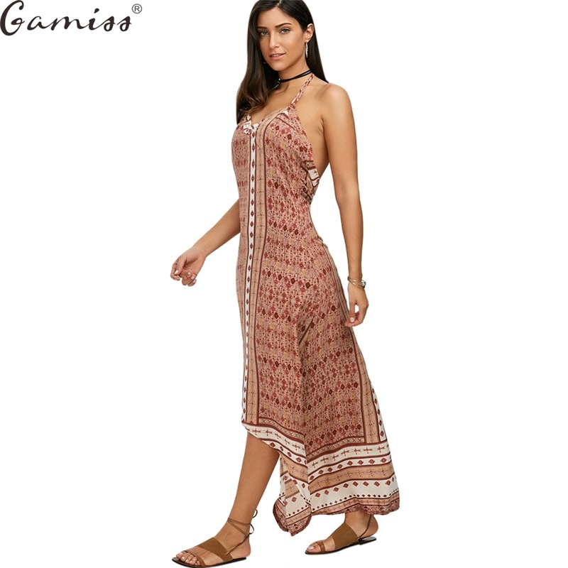 gamiss 2017 women boho dress vestidos maxi halter low back