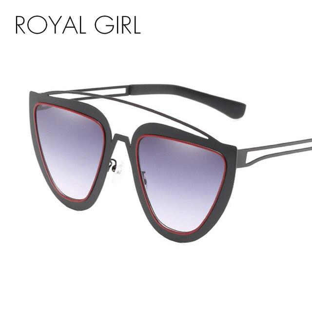 71b1c6e890e9a ROYAL FILLE Rétro Cat Eye lunettes de Soleil Femmes Hommes 2018 Marque  Designer Métal Cadre Bleu
