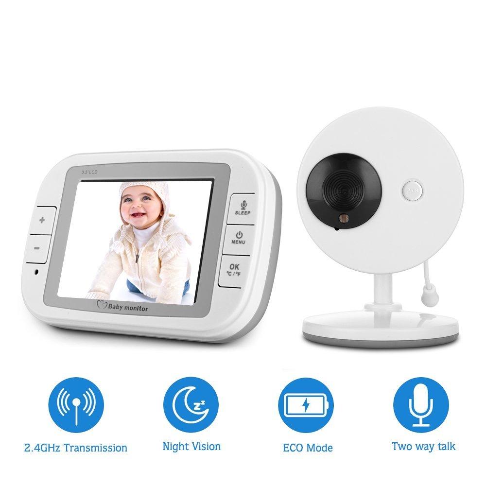 babykam babyfoon met camera vigila bebes 3.5inch IR Night Vision Temperature Sensor Lullaby Intercom babyfoon camera audio nanny