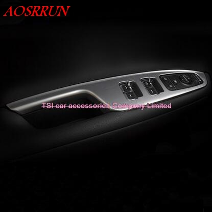 car-styling ABS Door Armrest Panel Cover Trim Window Glass Lift Buttons Frame Modling Garnish For KIA Optima K5 2016 Interior interior door window glass lifter switch armrest cover car styling stickers for ford explore 2015 abs chrome car accessories