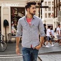 SIMWOOD Brand 2018 Spring New Plaid Shirts Men Slim Fit 100 Cotton Fashion Casual Check Shirt