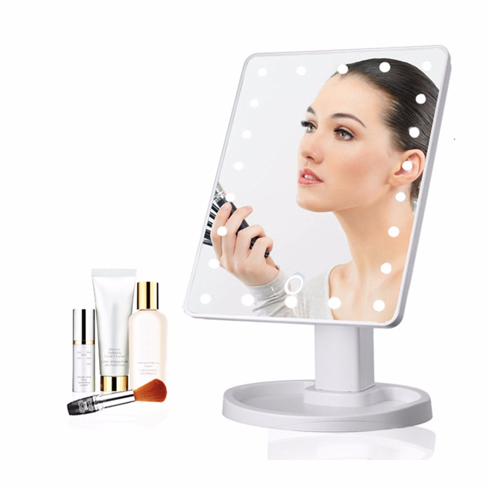 22LED Led Mirror Light Makeup Tabletop Lamp Touch Screen Portable 5X 10X Magnifying Vanity Cosmetic Tool White Black JQ