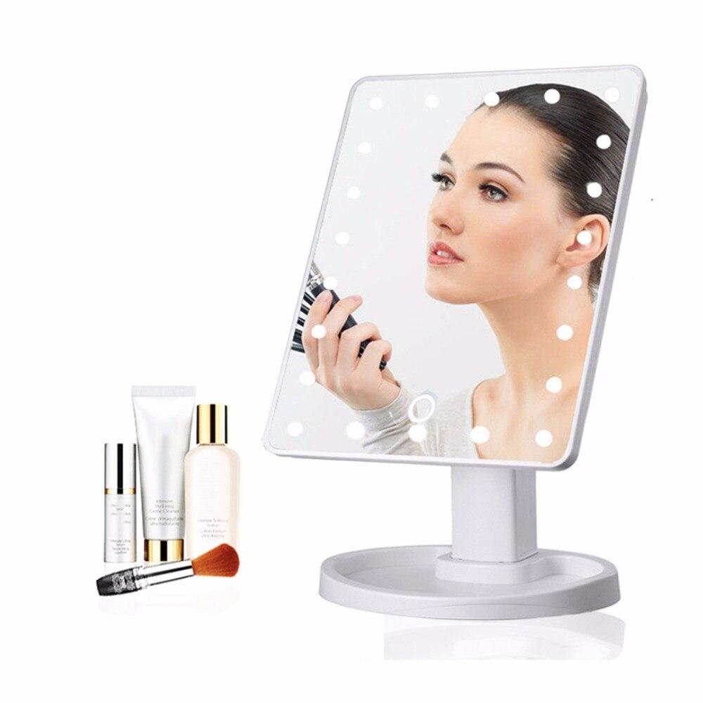 22LED Led luz espejo maquillaje lámpara de mesa pantalla táctil portátil 5X 10X lupa magnética herramienta cosmética negro blanco JQ