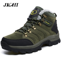 JICHI Men Snow Boots Big Size 36 47 Winter Mens Leather Fashion Ankle Boots Lace Up Outdoor Mountain Men Boots Shoes Waterproof