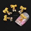 B488 1 5 X 10 MM liga de ouro oco Bow Dangle charme 3D DIY Nail Art dicas celular artesanato decoração cadeia