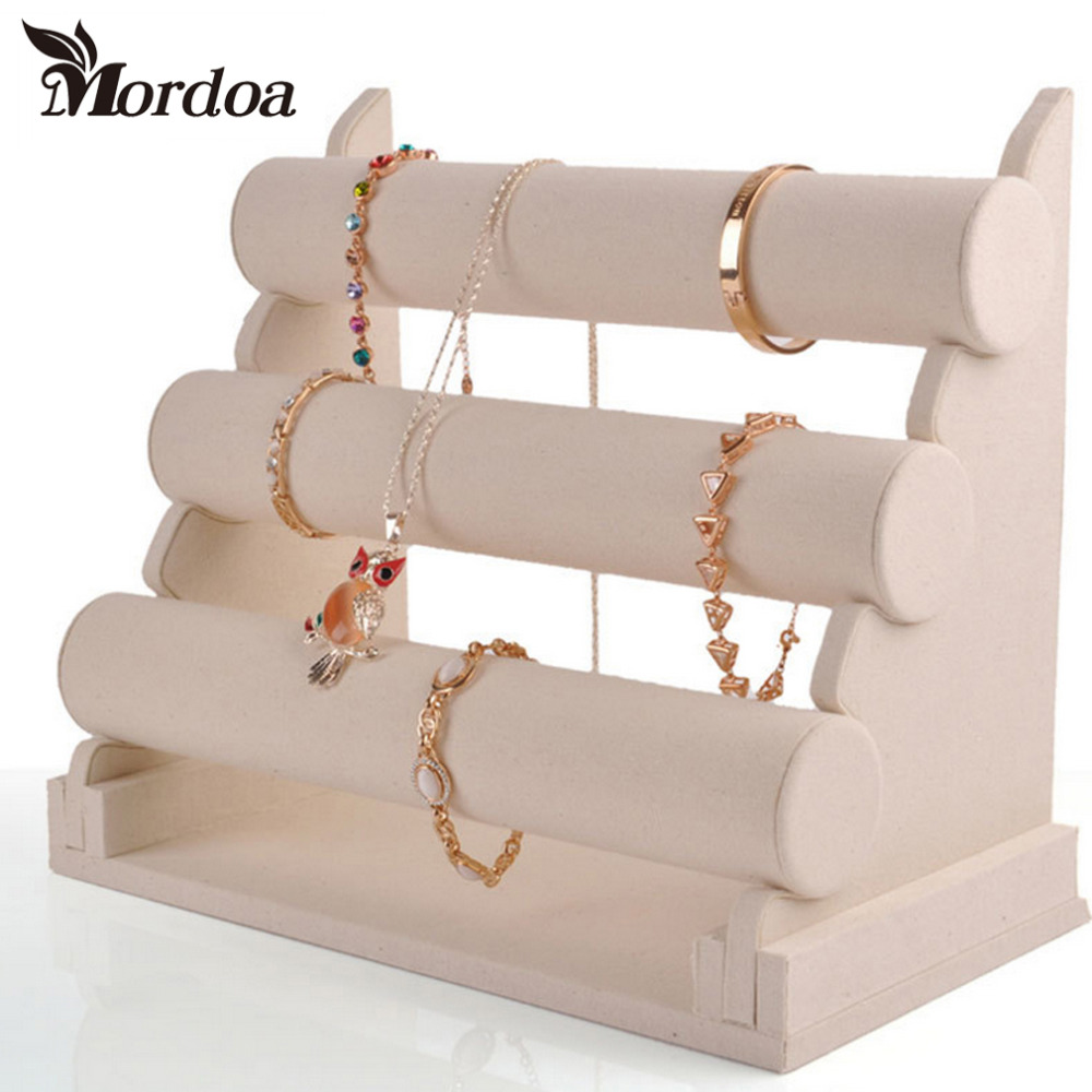 New Style Fashion 3 Tier Beige Linen Bracelet Chain Watch T Bar Rack Jewelry Organizer