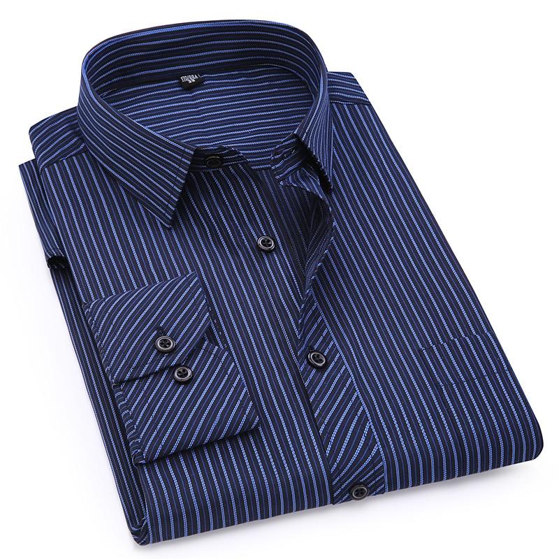 Plus Large Size 8XL 7XL 6XL 5XL 4XL Mens Business Casual Long Sleeved Shirt Classic Striped Male Social Dress Shirts Purple Blue 1