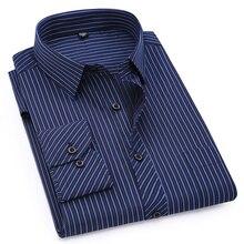 Большие размеры 8XL 7XL 6XL 5XL 4XL Мужская деловая Повседневная рубашка с длинными рукавами классические полосатые мужские рубашки фиолетового и синего цвета