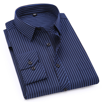 Plus duży rozmiar 5XL 6XL 7XL 8XL 4XL mężczyzna Business Casual długi rękaw koszula klasyczne paski mężczyzna koszula na przyjęcia towarzyskie koszule fioletowy niebieski tanie i dobre opinie QISHA Włókno poliestrowe COTTON Pełna Skręcić w dół kołnierz Pojedyncze piersi REGULAR Mens Business Casual Shirt