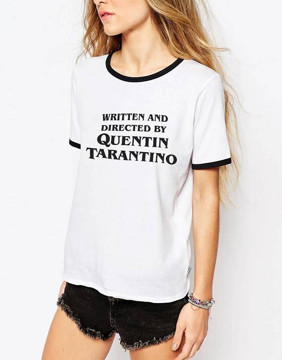 Tarantion Плёнки вентилятор Квентин Тарантино написано и направлены фильм ужасов рубашка заката до рассвета модные черные Ringer Tee