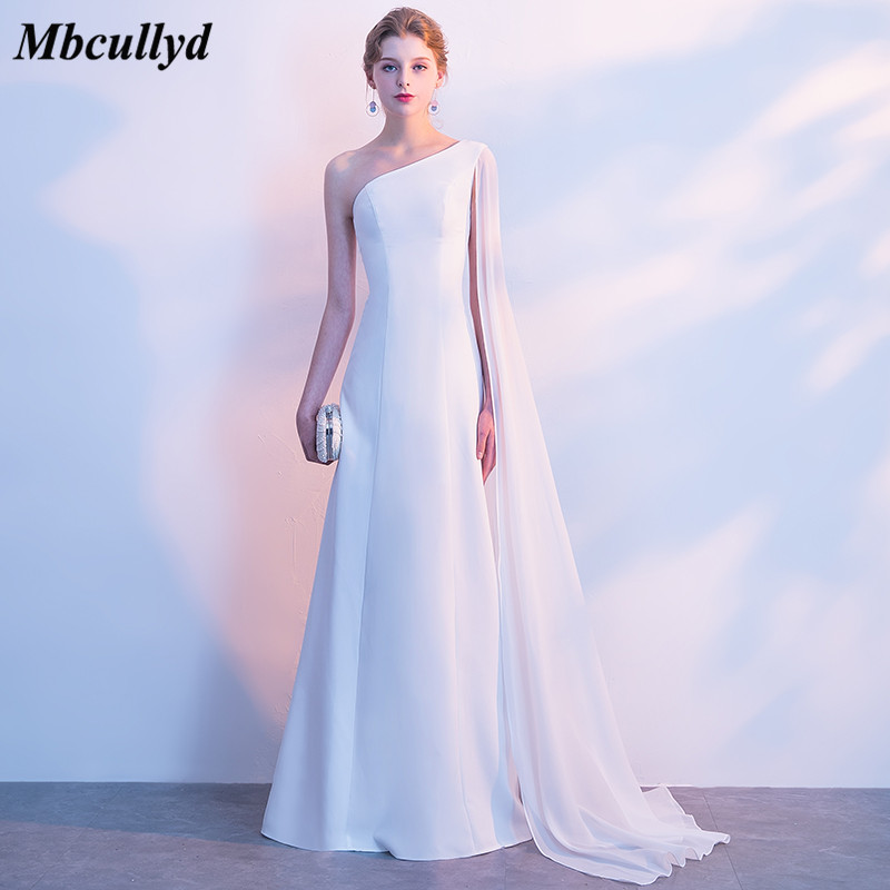 Mbcullyd Charming Chiffon   Bridesmaid     Dresses   2018 Long Floor Length Formal Party   Dress   Cheap One Shoulder Wedding Guest   Dress