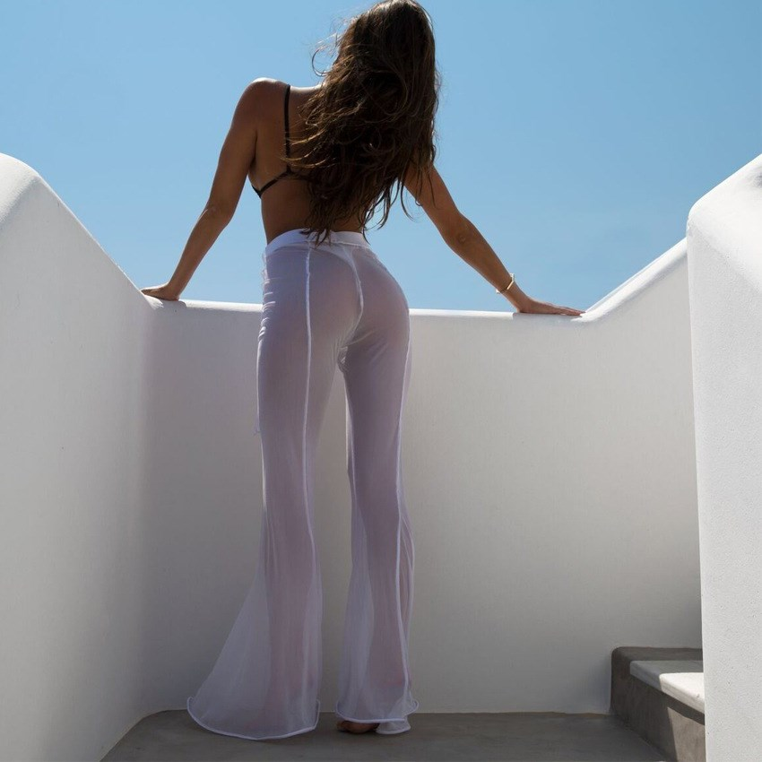 2018 Summer Women Sheer Mesh See Through   Pants   Solid Sexy Loose Full Length   Pants   Party Beach   Wide     Leg     Pants