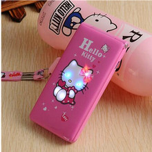 hello kitty 1800mAh Flip Dual SIM Card GPRS Breath Light touch screen Cell Phone women girl child MP3 MP4 cartoon mobile phone(China)