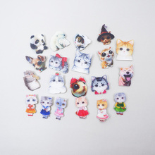 1 PC Cartoon cat Badges for Backpack Clothes Plastic Badge Kawaii Pin brooch Icons