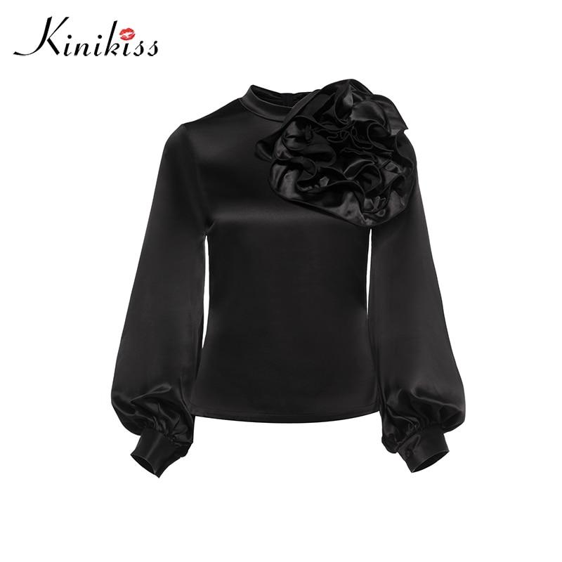 Kinikiss Women Elegant Stain Blouse Shirts Appliques Flower Design Stand Collar Shirt Tops Office Ladies Vintage Elegant Tops