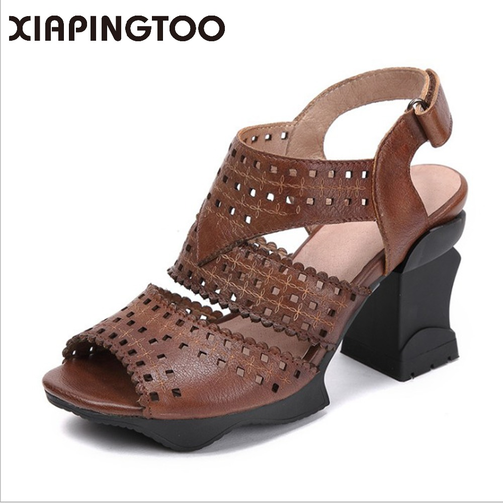 Summer Women's Genuine Leather Buckle Sandals High Heels Comfortable Soft Rubber Bottom Leisure Retro Handmade Shoes For Women xiuteng handmade women leather sandals for summer comfortable soft bottom flowers shoes high quality genuine leather casual shoe