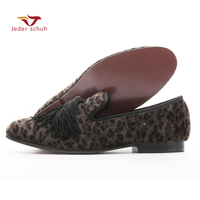 Men Loafers Handmade Shoes With Exquisite Tassel Men Flats Leopard Design Wedding And Banquet Shoes Smoking