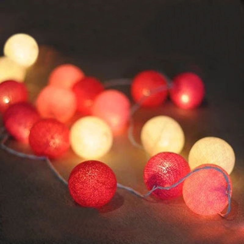 20pcs Cotton Balls String Lights Battery Operated Christmas LED Garland Lights Holiday Party Wedding Kids Room Decoration Lights