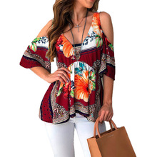 Elegant Office Loose Shirt Tops Blusas Sexy Off Shoulder Women Blouses Casual Half Sleeve Blouse Streetwear Floral Print Shirts цена