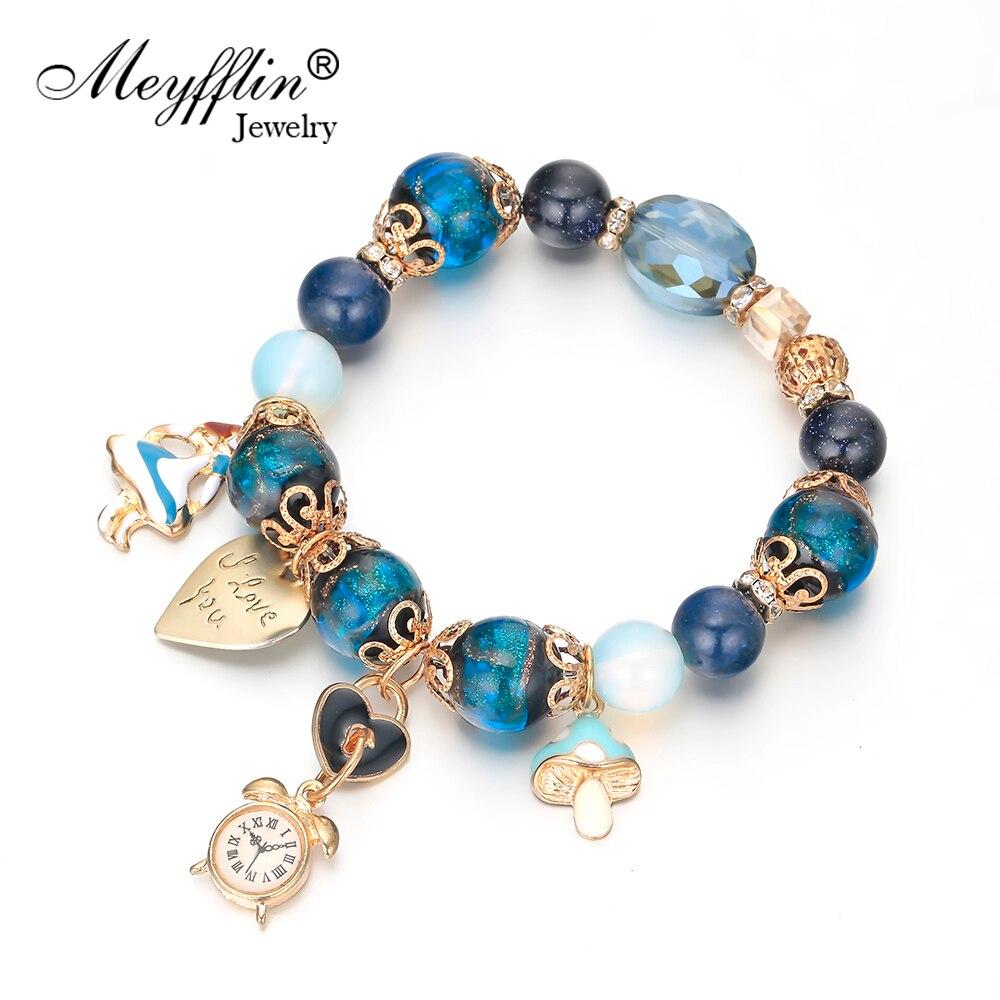 d82f7304c64a Meyfflin reloj colgante cuentas pulseras y brazaletes para mujer Vintage  azul verde piedra corazón encanto pulsera moda joyería femenina