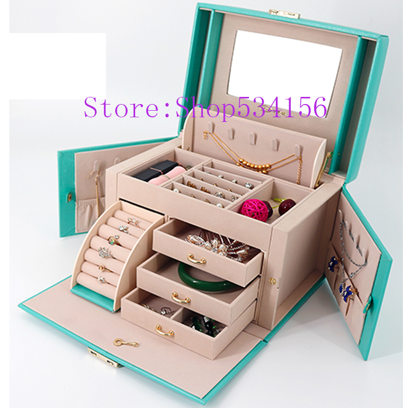 (Updated Version)luxury Practical Leather Jewelry Box Casket Earrings Necklace Pendant Jewelry Display  Gift Packaging Box