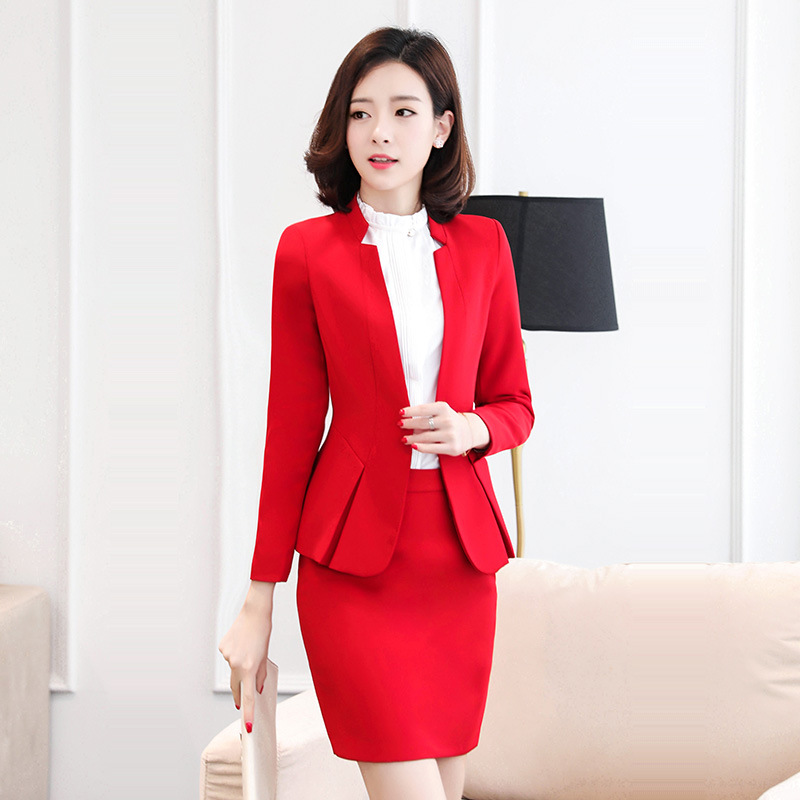 split formal sets long sleeve button blazer with skirt set Autumn Fashion Elegant Solid business professional women work suits