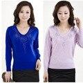 Nuevas mujeres de la Manera de Las Mujeres Con Cuello En V suéter más el suéter del Tamaño camisa
