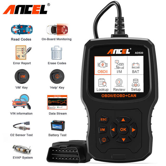 Ancel AD530 OBD2 ODB Automotive Scanner Battery Tester Full OBD2 Car Engine  Diagnostic Tool Code Reader OBD 2 Scan Tool