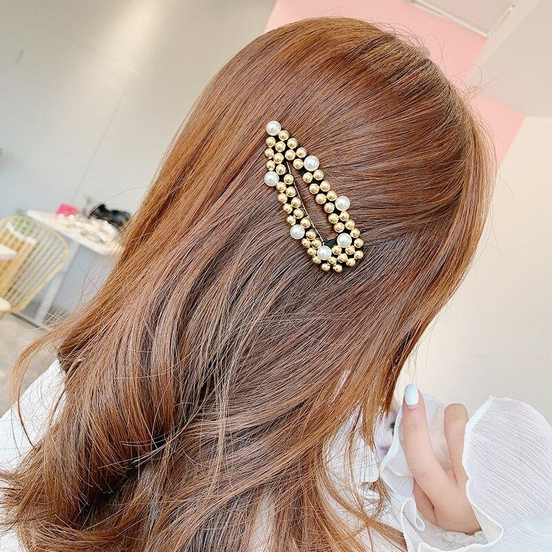 2019 New Fashion Women Girls Silver Gold Pearl Barrettes Hair Clips Elegant Headband Hairband Hairpins   Headwear   Hair Accessories