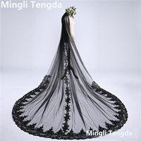 One Layer 3 M Long Wedding Veil Black Lace Bridal Veil with Comb Velos De Novia Sequins Lace Edge Cathedral Veils Mingli Tengda